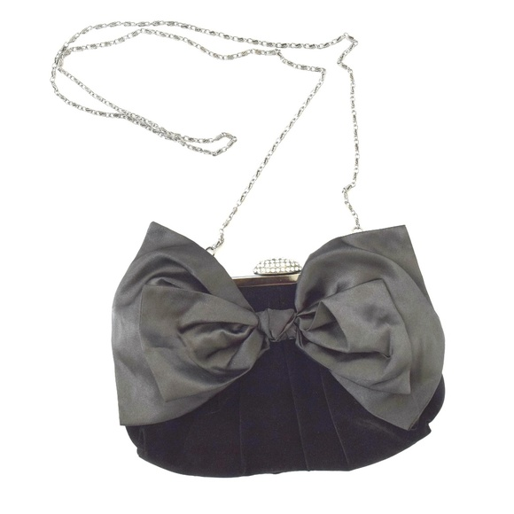 e377696884c NEIMAN MARCUS Black Velvet Satin Bow Evening Bag. M 5b85389cd6dc523486e394c5